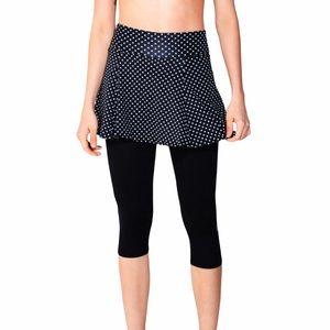 Dona Jo 2 In 1 Black Polka Dot Capri Skirt NWT